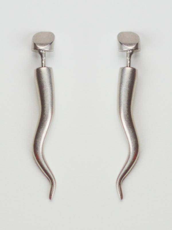 silver horn earrings